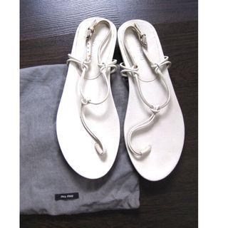 Miu Miu Italy White T Strap Sandals