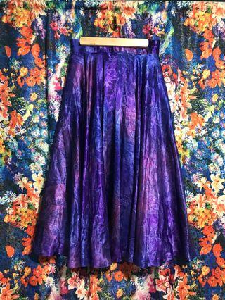 古著 vintage 幻彩 緞面長裙 歐式復古