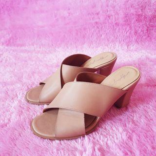 Apple Green Brown Leather Sandal Heels