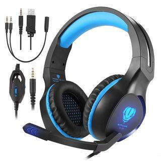 2B 727 (Brand New) Butfulake Gaming Headset for Xbox One PS4 PlayStation 4 Nintendo Switch PC Smartphone, 3.5mm Stereo Gaming Sound Over-Ear Headphones Noise Cancelling with Mic and LED Light, Blue