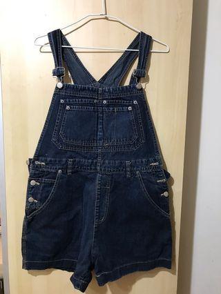 Vintage 古著深藍吊帶褲