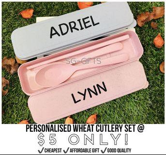 🚚 Personalized Cutlery Set Utensils Wheat Go Green For Office Gift Corporate Birthday Teacher's Day