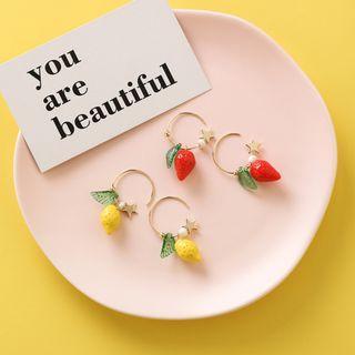 {朵朵韓飾} B2829 韓國直送(正韓)-時尚甜美星星檸檬草莓耳圈耳環(二款)