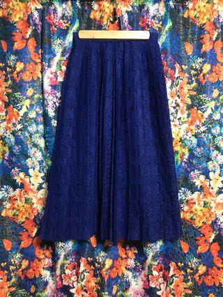 古著 vintage 蕾絲百摺裙 日本製 歐式復古