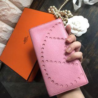 真品Hermès Evelyne 牛皮長夾(盒裝、紙袋)