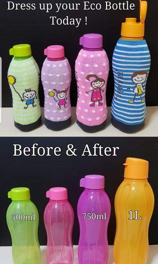 Tupperware Eco Bottle Cover   500ml Cover = $2.90/Piece (Green or Purple) 750ml Cover = $4/Piece (Pink)   1L Cover = $5/Piece (Blue)   500ml Eco Bottle - $8.50 750ml Eco Bottle - $11.00 1L Flip Top Eco Bottle - $14.00