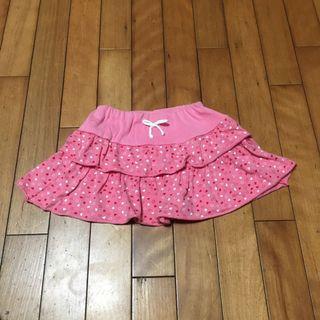 二手120cm 女童純棉蛋糕裙短裙愛心荷葉邊半裙