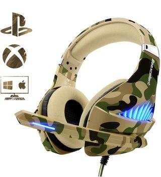 Gaming Headset for PS4 Xbox One PC, Beexcellent Deep Bass PS4 Headset with Noise Immunity Mic, LED Light, Friction-Reduction Cable, High-Comfort Earmuff-Camo