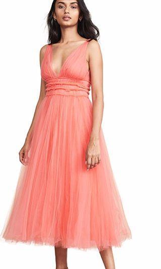 María Lucía Hohan coral tulle midi dress (new with tags)