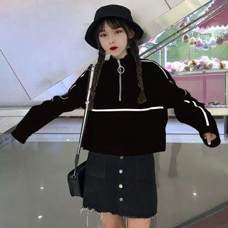 #306 ulzzang half zip up pullover black and white stripe korean hypebeast