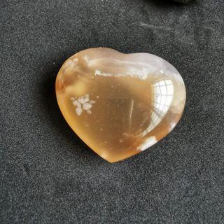 Flower Agate Heart 36.5mm x 31.0mm (wt22.6g)
