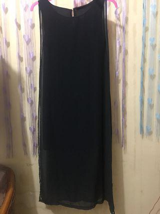 Dress panjang sifon hitam