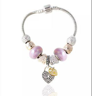 Trendy Silver Color Different Colors of Heart Shaped Crystal Beaded Charm Brace