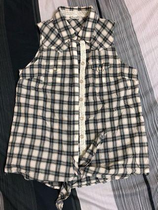 下擺綁帶🇬🇧格紋背心襯衫