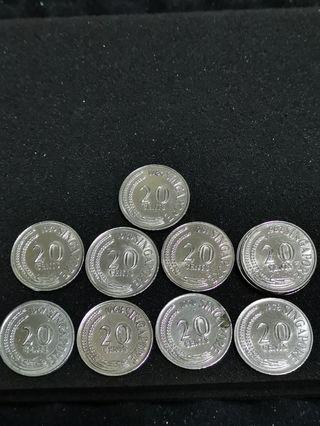 1967-1984 Singapore 20 Cents Sword Fish Coin (Price Per Piece)