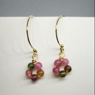 (1) Tourmaline 14K Earrings Natural Crystal 天然碧玺金耳环