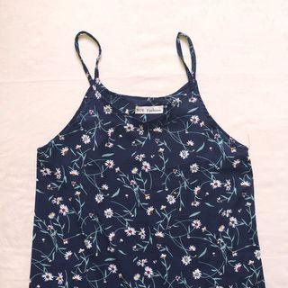 ulzzang floral midi dress