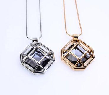 New Geometric Long Necklace For Women Crystal Bijoux