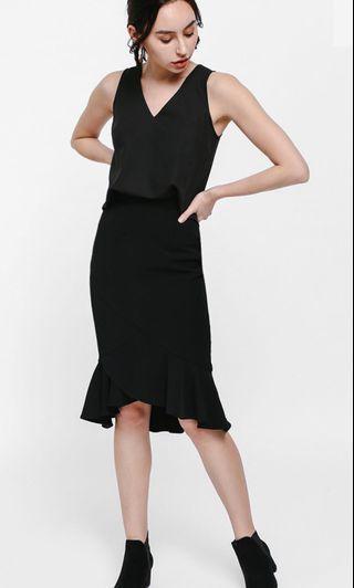 Love Bonito ~ Osamund Asymmetrical Ruffle Hem Skirt