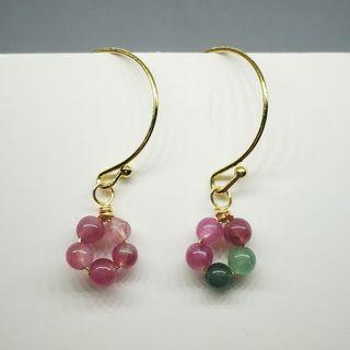 (2) Tourmaline 14K Earrings Natural Crystal天然碧玺金耳环
