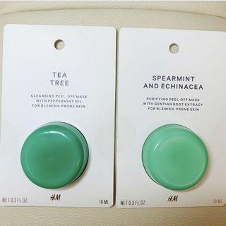 H&M Tea Tree Cleansing / Spearmint & Echinacea Purifying Peel Off Face Mask (Blemish Prone Skin) Antibacterial/ anti acne