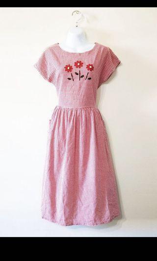 古著 小花刺繡洋裝