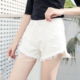 ripped & frayed white denim shorts