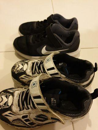 Used kids nike and skechers sport shoe