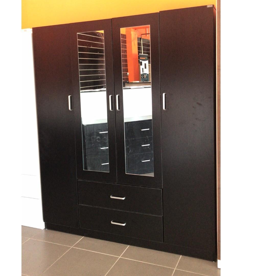 4 Door 2 Door Wardrobe/Cupboard (WHITE/BLACK) at $440