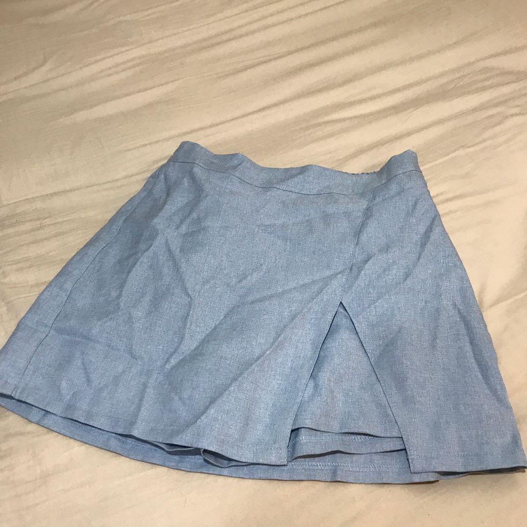 開衩牛仔布褲裙