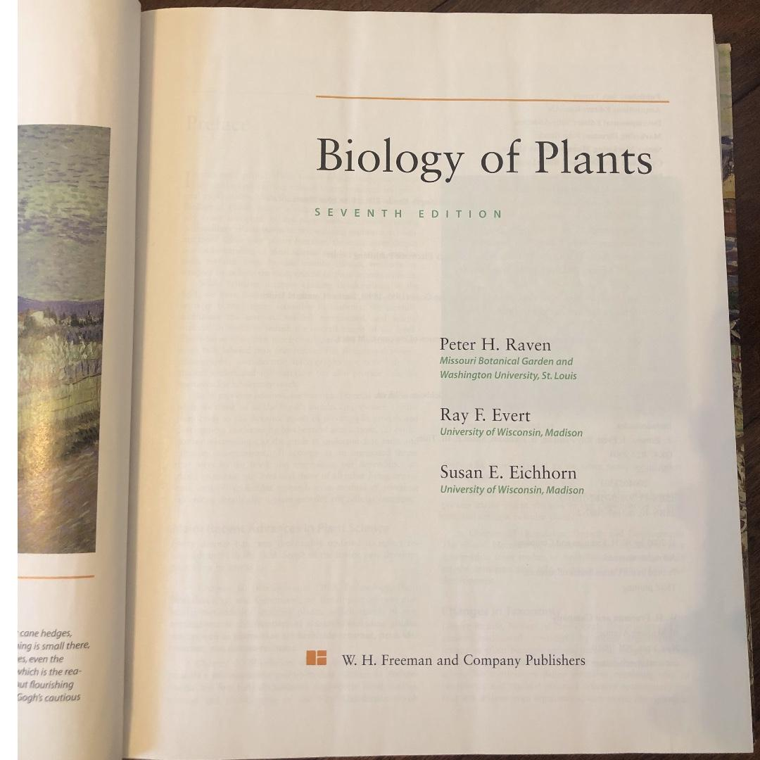 """Biology of Plants"" 7th Edition Textbook by Peter H. Raven, Ray F. Evert, and Susan E. Eichhort for sale!"