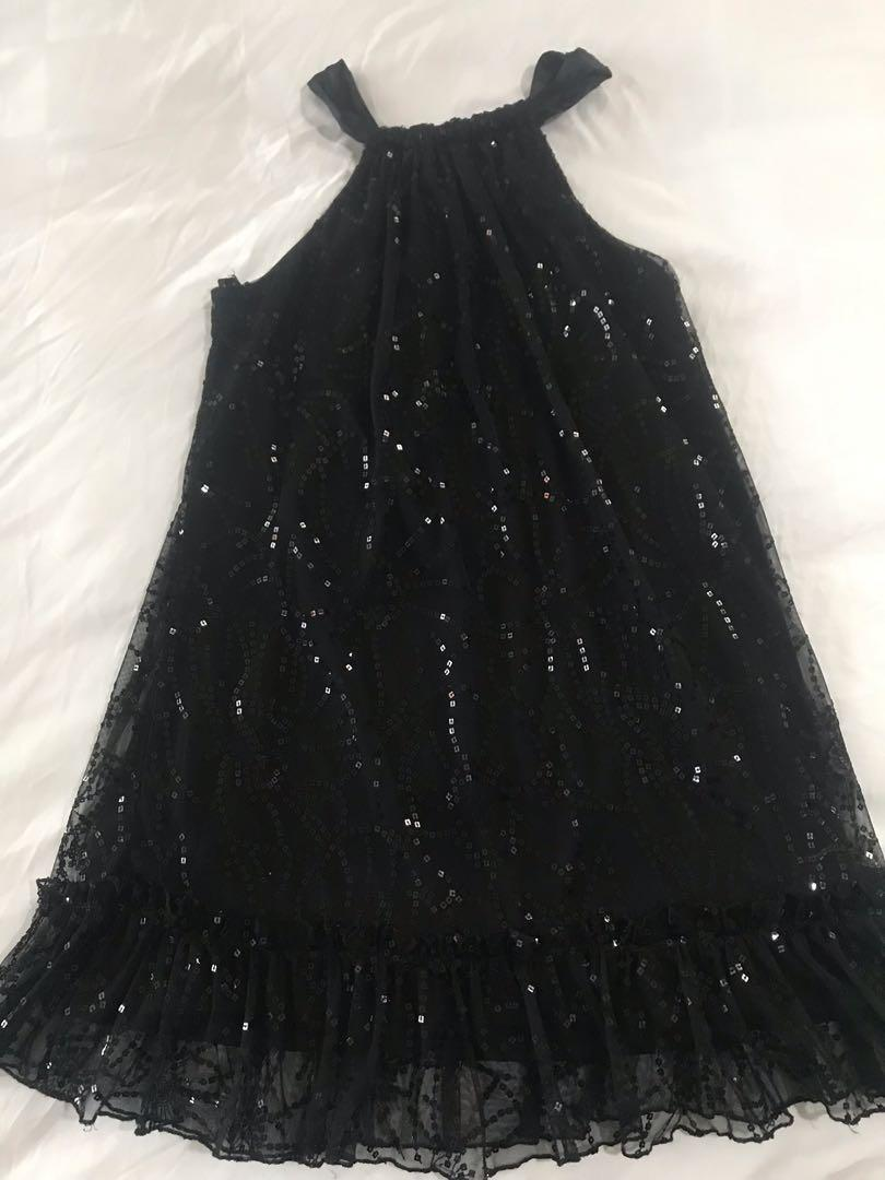 Exclusive Brand New Black Halter Sequins Shimmery Cocktail Midi Dress with Frills