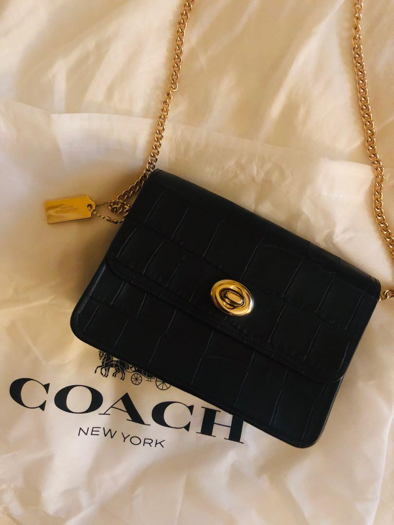 Coach Turnlock Leather Chain Crossbody Bag