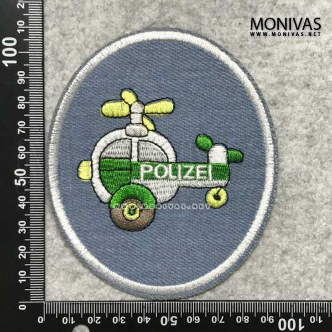 Denim Police Helicopter DIY Hole Covering Applique Iron On Patch Menders