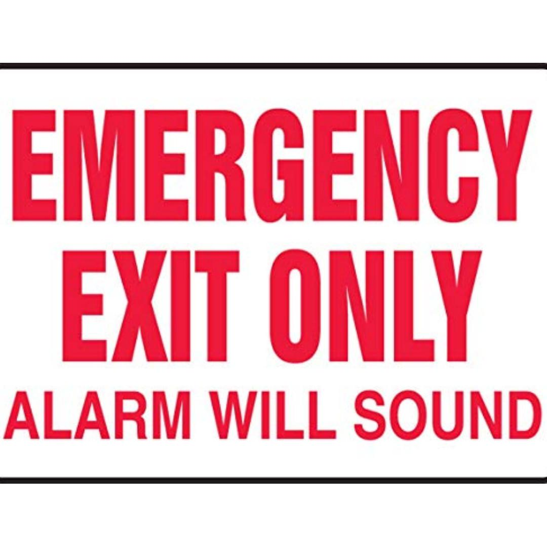 """EMERGENCY EXIT ONLY ALARM WILL SOUND"" Plastic Safety Sign"
