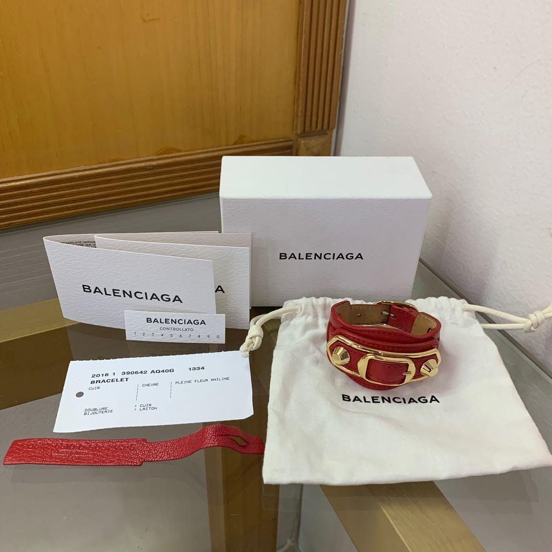 🔥FIRE DEAL🔥 BRAND NEW! Balenciaga Bracelet Red Metallic Gold Edge Cuff (Authentic) (Branded) (Gelang Wanita) (JUAL RUGI)