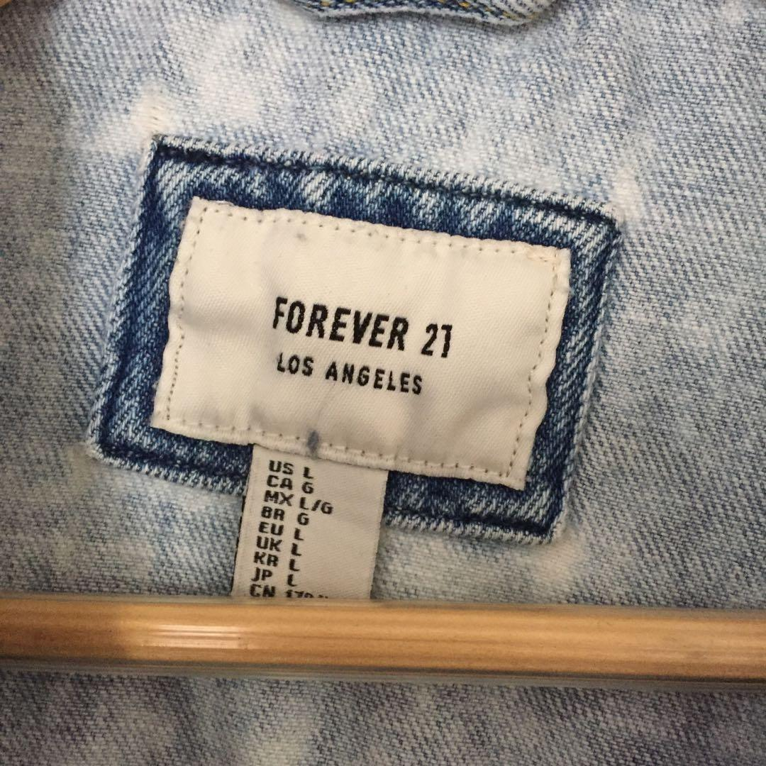 Forever 21 Acid Wash Denim Jean Jacket - Size L