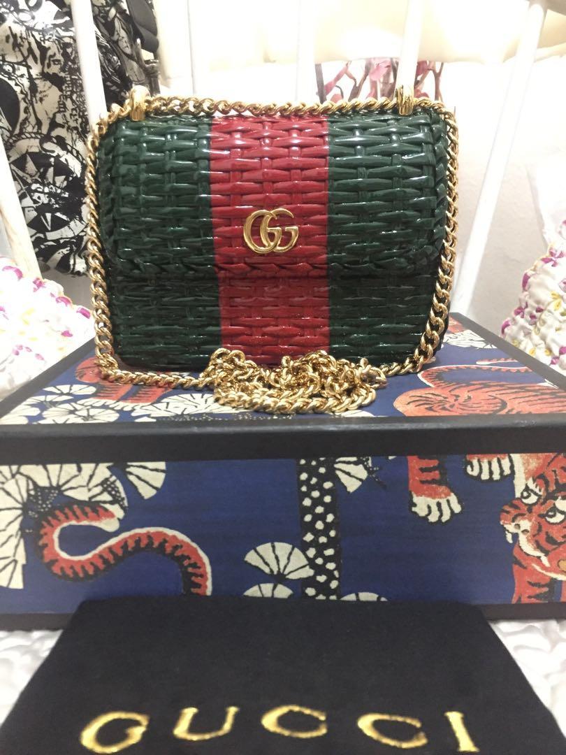 GG Cestino woven-wicker mini cross-body bag 21,5jt #ggcestino#guccibag#gucciwickerbag#authenticbag#instalike