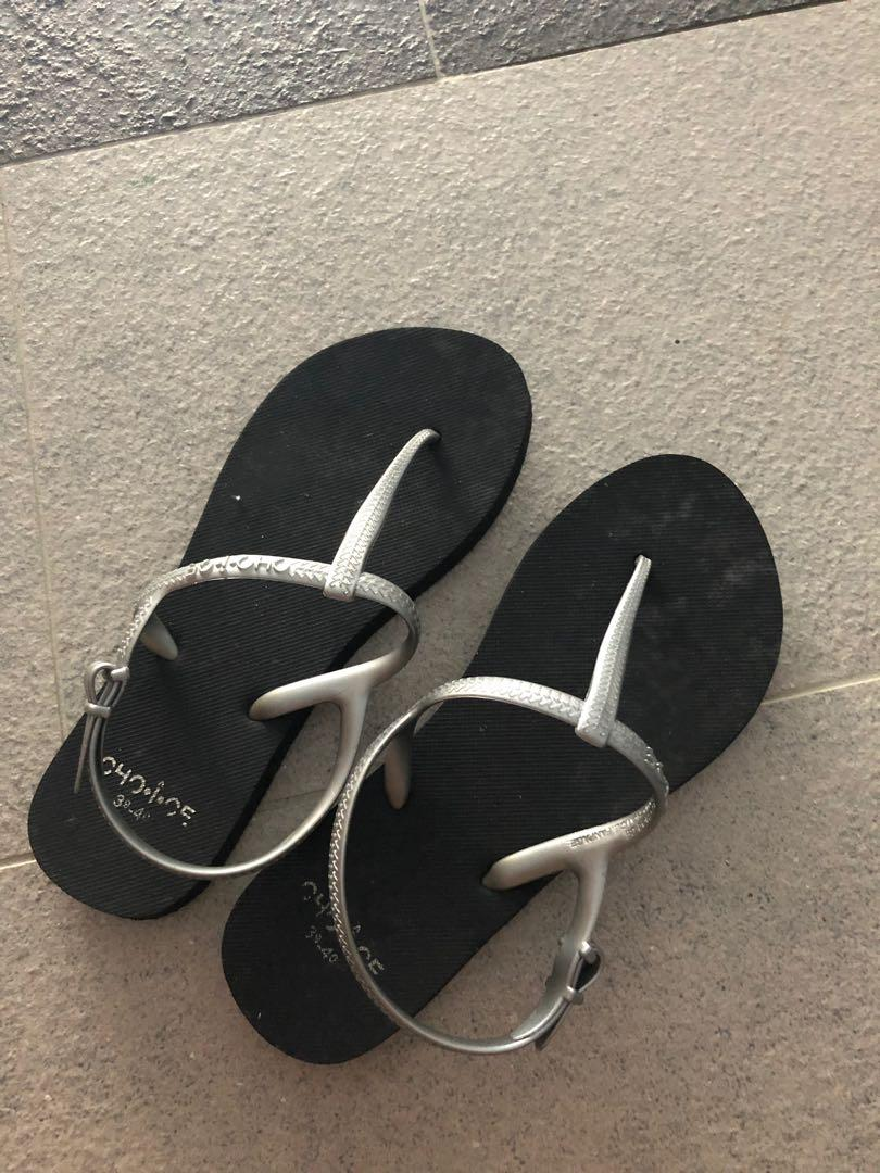 Havaianas inspired black sandals