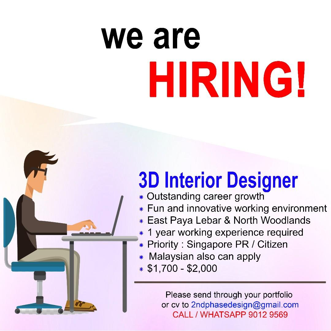 Job Vacancy 3d Interior Designer Everything Else On Carousell