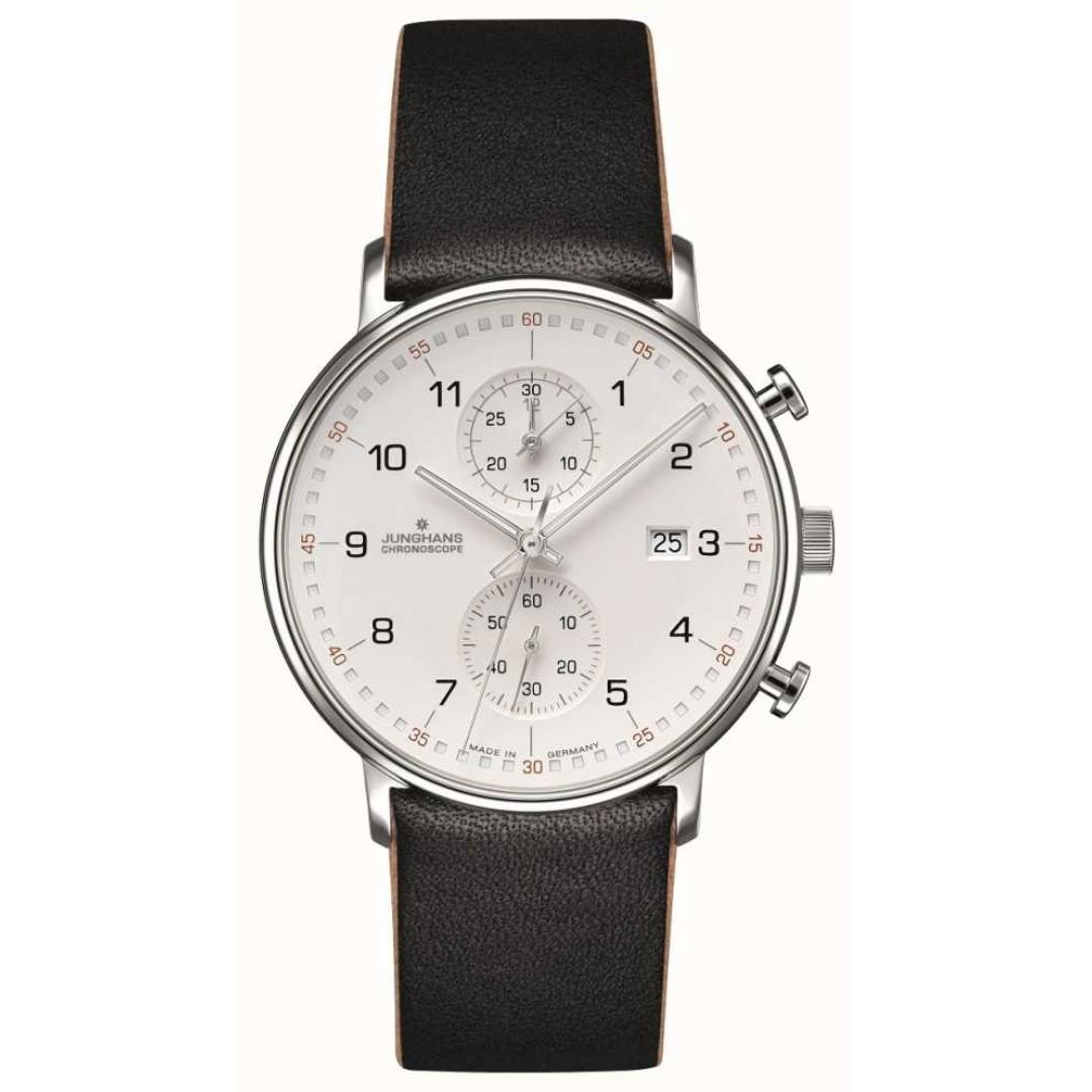 Junghans FORM C Chronoscope Calfskin Black Strap with Numbers