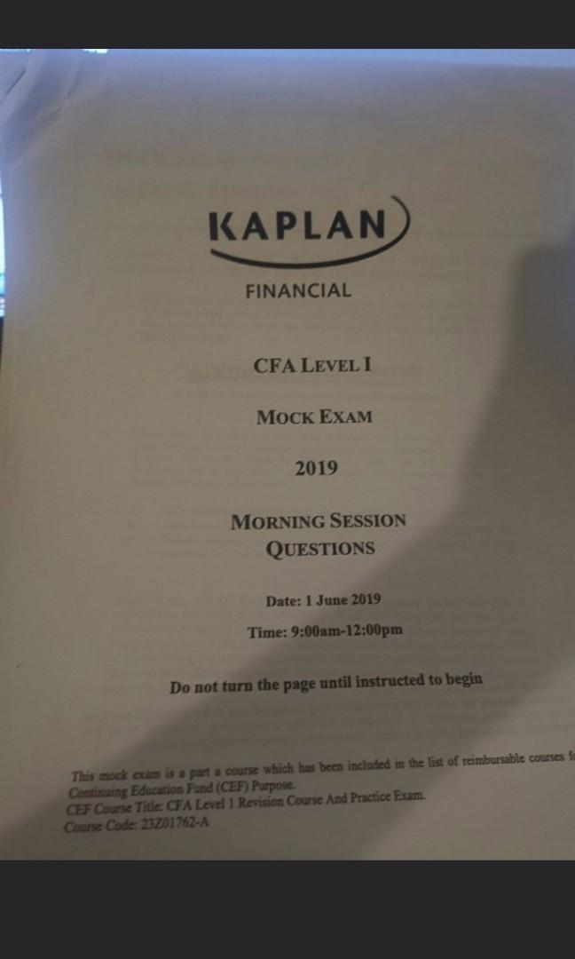 Kaplan CFA level 1 June 2019 mock exam 正版on Carousell