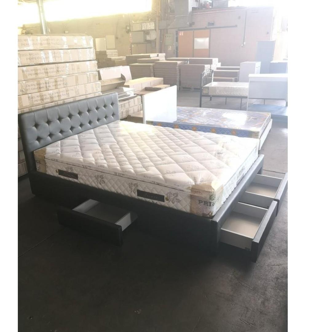 Last 2 PU  Leather Queen Bed with 4 Drawers - BLACK/WHITE Colour at $405