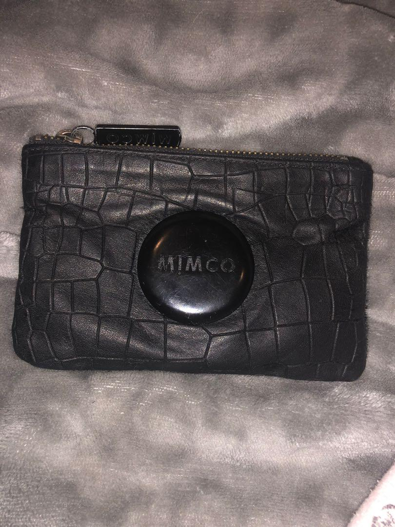Mimco Black Leather Crocodile Print Pouch