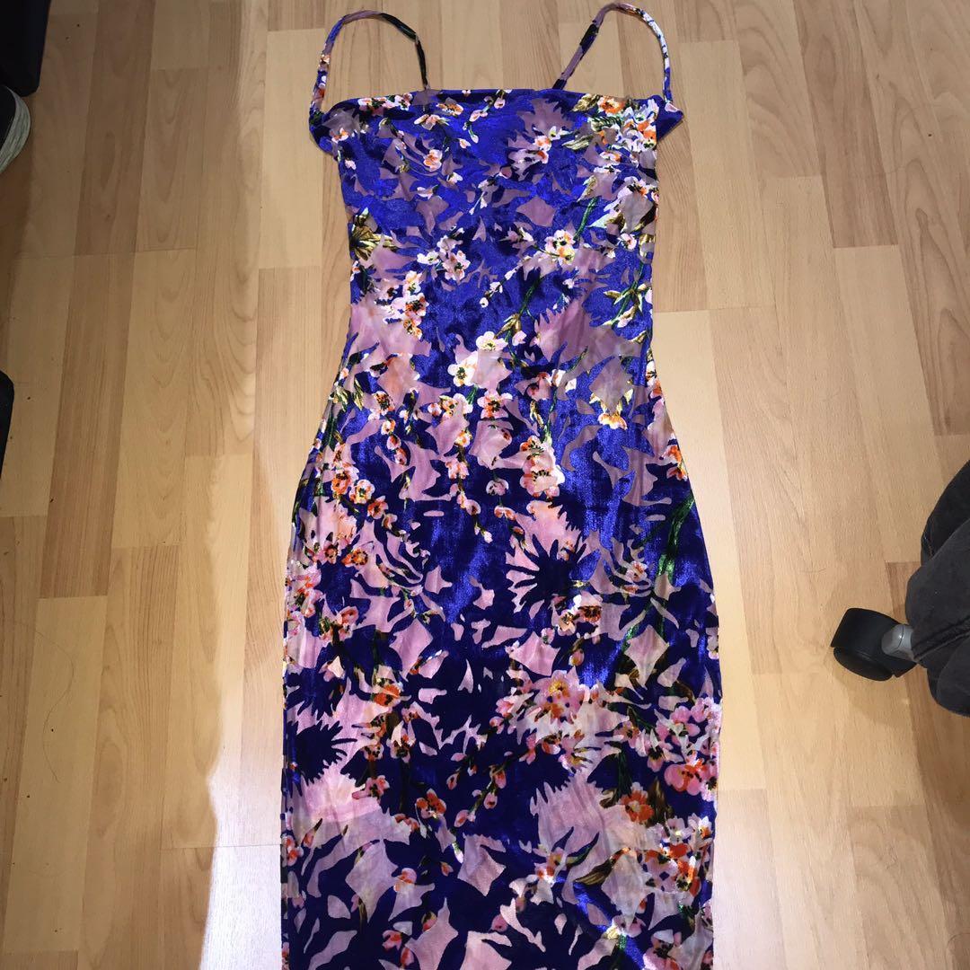 Missguided Velvet Devore Cowl Neck dress - AU 10 - BRAND NEW