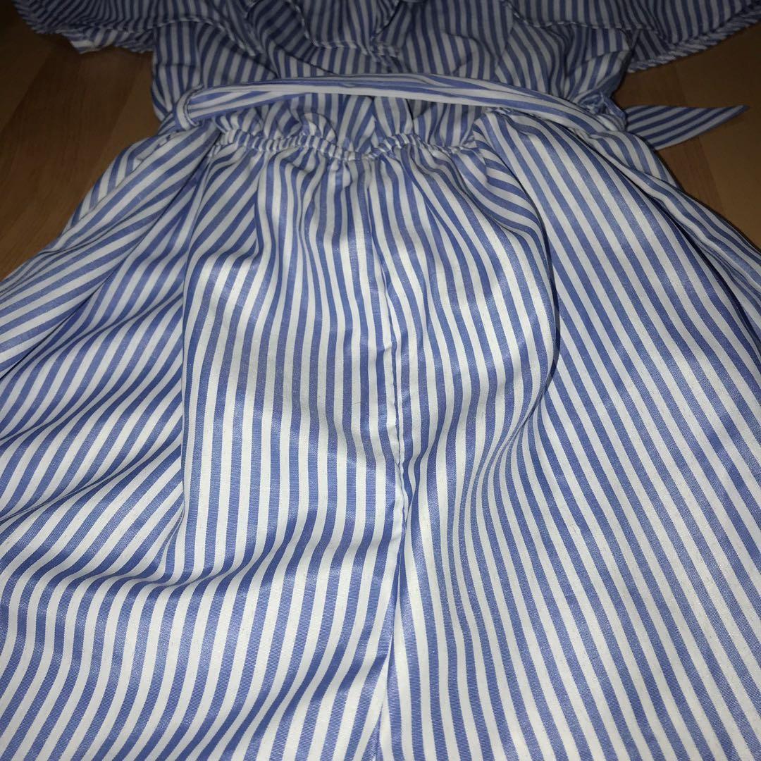 MorningMist off-shoulder blue and white playsuit - AU8