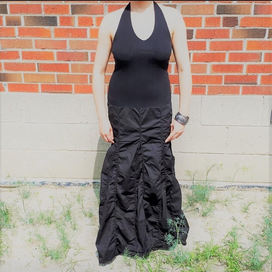 NWOT Black Halter Maxi Dress with Full Gypsy Skirt