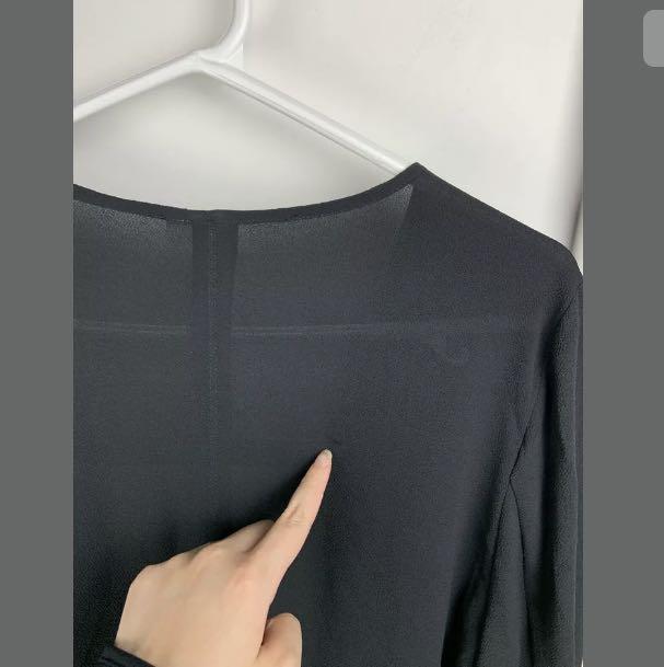 NWT H&M sz XS/S black basic long lightweight jacket blazer outer drape neck top