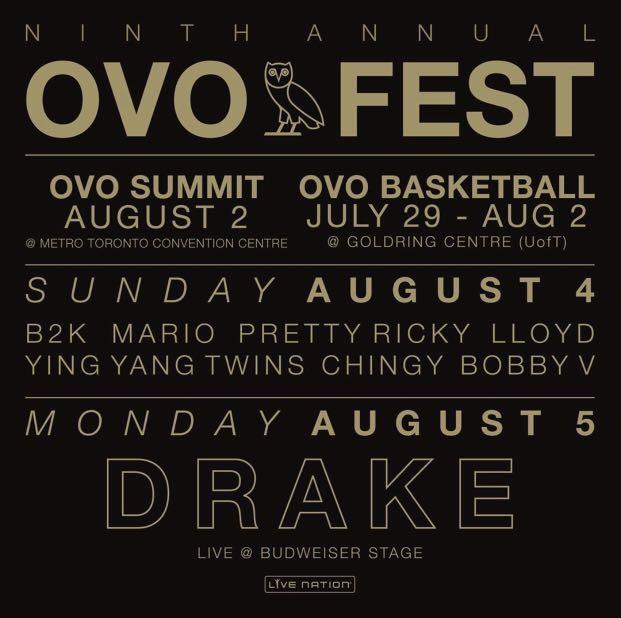 OVO FEST DAY 2 - DRAKE + SPECIAL GUESTS!!! ONE TICKET SEC 201 ROW J