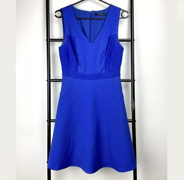 Portmans sz 8 hot electric blue fit flare dress smart casual party date night